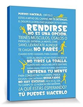 Amazon.com: 1art1 Motivational Stretched Canvas Print - Workout, Tú Puedes Hacerlo, Blue (20 x 16 inches): Posters & Prints