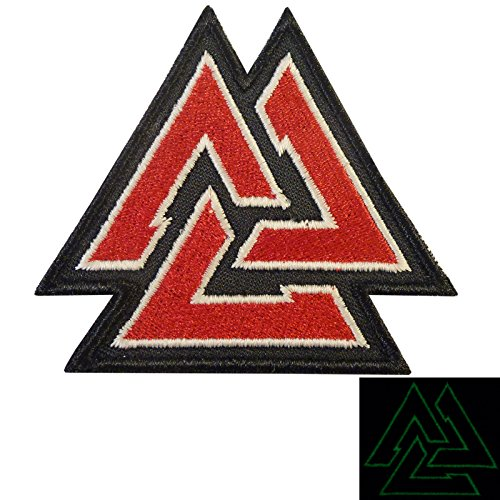 LEGEEON Glow Dark Valknut Viking Norse Rune Morale Tactical Hook&Loop Patch