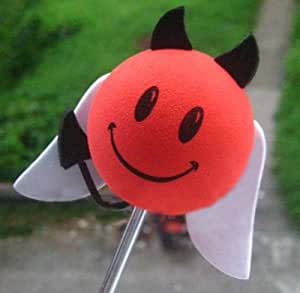 Happy Smiley Face Devil w/ Angel Wings Car Truck SUV Antenna Topper