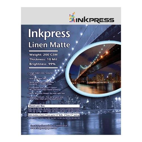 Premium Single Sided Photo Paper (Inkpress Linen Matte Single Sided Bright White Textured Watercolor Inkjet Paper, 10 Mil., 200gsm., 11x17