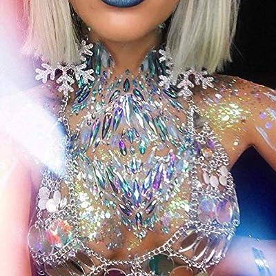 COKOHAPPY 4 Sets of Body Jewels Rave Festival Rhinestone Face Body Jewelry