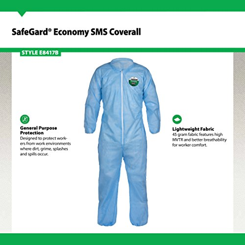 Lakeland SafeGard Economy SMS Coverall, Disposable, Elastic Cuff, X-Large, Blue (Case of 25) by Lakeland Industries Inc (Image #1)