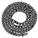 Hemau 3mm Round Cut CZ Tennis Chain Necklace Black Finish Solid 925 Sterling Silver | Model NCKLCS - 2139 | 16 inches