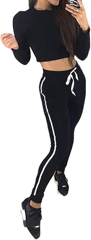 Sportbekleidung Anzug F/ür Frauen Damen Fashion Trainingsanzug Langarm Bluse Crop Tops Lange Hosen Bleistift Hosen Sportanz/üge 2 St/ück Sets Casual Anzug F/ür Jogging Lauf Fitness S-XL