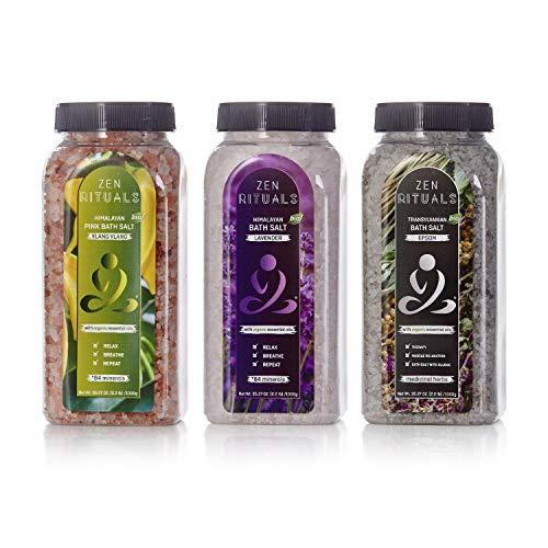 (Zen Rituals Bath Salt Set – Organic Lavender Himalayan Salt, Ylang Ylang Pink Salt With Minerals and Transylvanian Epsom Salt With Medical Herbs – Bundle Pack 3 Bottles, 6.6 lbs)