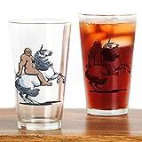 CafePress Bigfoot Riding a Unicorn Drinking Glass Pint Glass, 16 oz. Drinking Glass