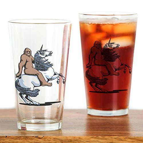 CafePress Bigfoot Riding a Unicorn Drinking Glass Pint Glass, 16 oz. Drinking Glass