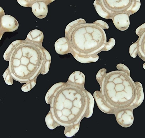 (Loose Beads 18x14mm Antique Off White Turquoise Turtle Tortoise Beads (12) Jewellery Maker)