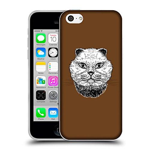 GoGoMobile Coque de Protection TPU Silicone Case pour // Q05220633 gros chat Sépia // Apple iPhone 5C