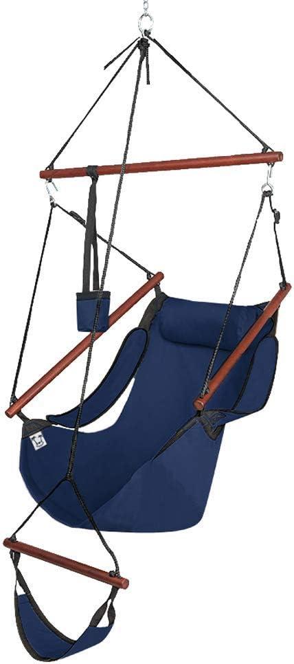 Deluxe Hanging Rope Hammock Chair Air Swing Sky Outdoor Yard Capacity 250LBS
