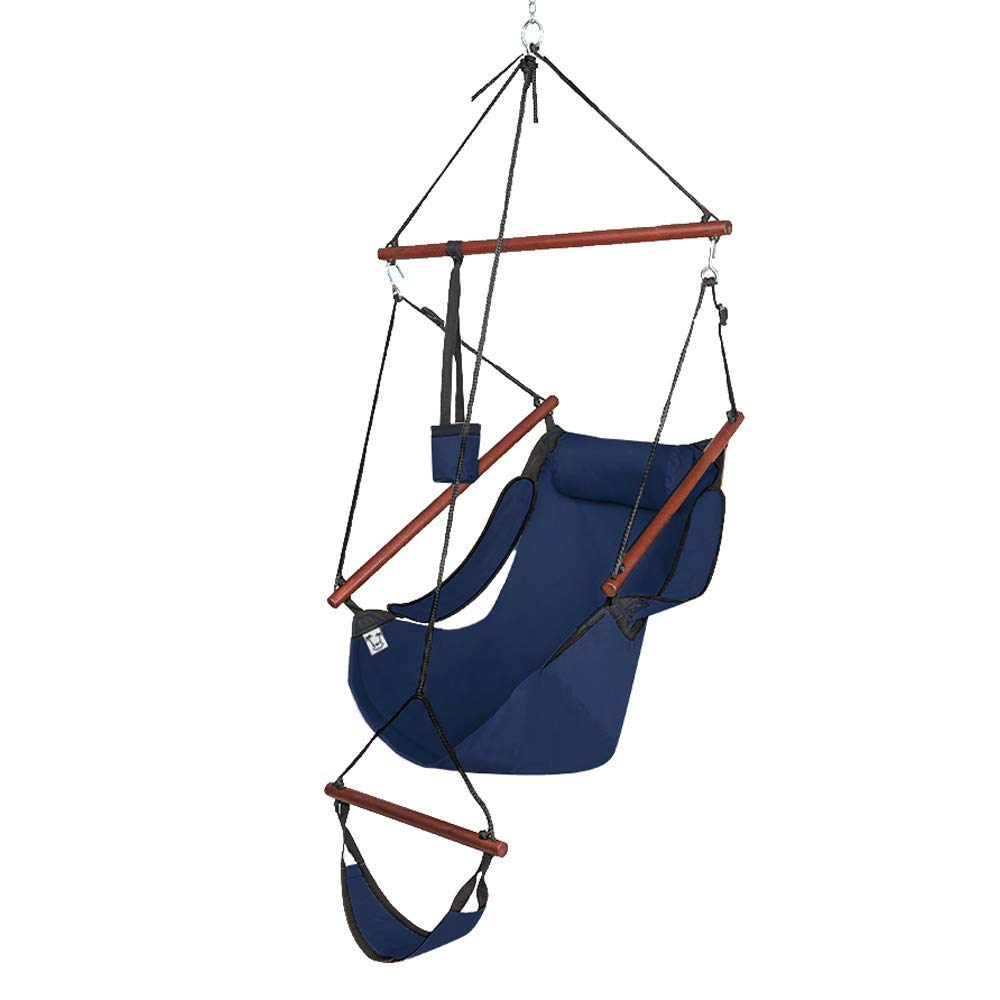 ONCLOUD Upgraded Unique Hammock Hanging Sky Chair, Air Deluxe Swing Seat with Rope Through The Bars Safer Relax with Fuller Pillow and Drink Holder Solid Wood Indoor Outdoor Patio Yard 250LBS Blue
