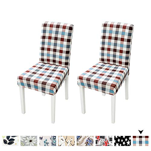 (Clothman Set of 2 Dining Chair Covers Printed High Elasticity Chair Slipcovers Elastic Anti-Stain Removable Washable Parsons Chair Covers for Dining Room (Fashion Plaid))
