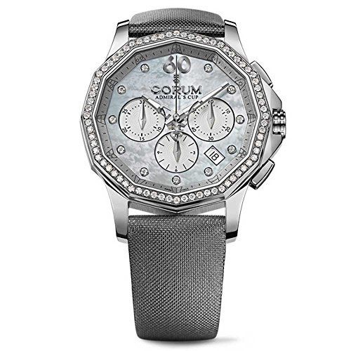 Corum Admiral's Cup Legend 132.101.47/F149 PK11 38mm Diamonds Automatic Stainless Steel Case Grey Satin Anti-Reflective Sapphire Women's Watch