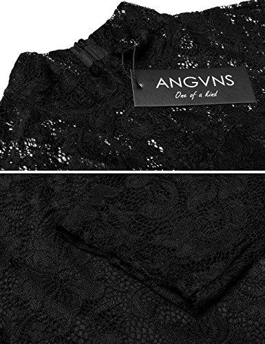 Coctaill Mini Dresses Lace Floral Black ANGVNS s Dress Women Vintage Half Sleeve wxqcCgzHO
