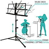 Music Stand, ANKO Professional Collapsible Music Stand with Music Book Clip, LED Music Stand Lamp and Carrying Bag. suitable for Violin, Guitar, Flute and Instrumental Performance. (1 PACK)