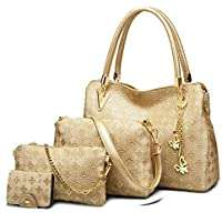 PU Leather Shoulder Bags for Women - Shoulder Bags, Crossbody Bag, Handbag & Pouch\Card Holder Combo Set (Golden) - Hand Bags for Ladies (Golden) - Set of 4