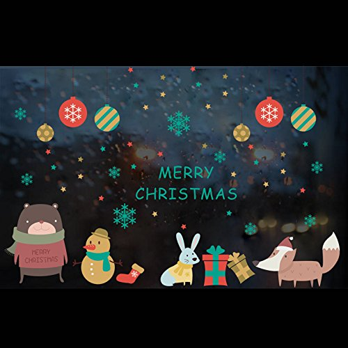 Christmas Window Clings Decals Cute Wall Stickers Ornaments for Door,Wall ,Garden ,Children Room,Store,Coffee ,Floor Educational Walls ,Party Supplies ,Festival Decorations (Christmas Clings Floor)