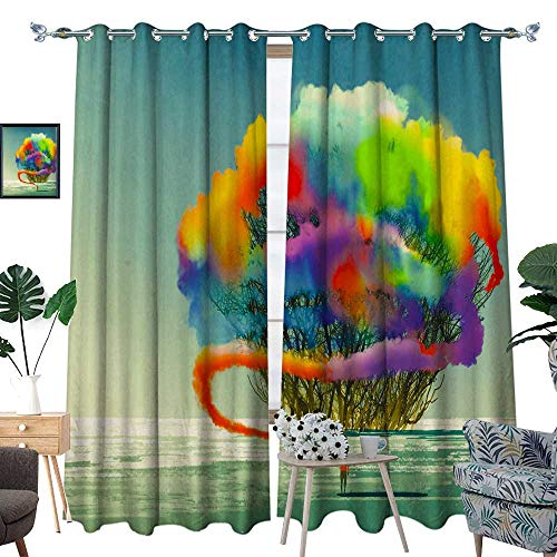 homehot Room Grommet Indoor Curtains Man Draws Abstract Tree with Colorful Smoke Flare W96 x L108 - Smoke Handheld Flare