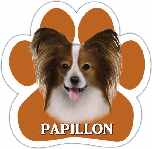 Papillion Car Magnet With Unique Paw Shaped Design Measures 5.2 by 5.2 Inches Covered In UV Gloss For Weather Protection ()