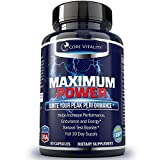 #1 Testosterone Booster for Men - EXTRA STRENGTH SUPPLEMENT - 100% All Natural Male Enhancement Formula - Boosts Testosterone, Stamina, Energy and Sex Drive - Look Fitter & Leaner - 30 Day Supply - Guaranteed by Core Vitality