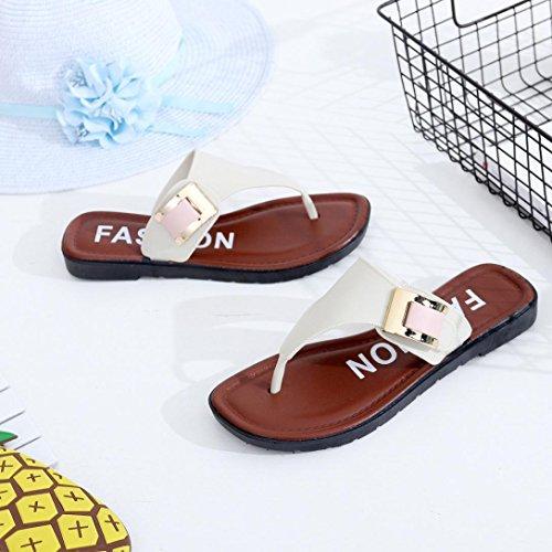 Femmes Sandales Confort,OverDose Sandales Plates Style Mules En Cuir Flat Flip Flops Chaussures Blanc