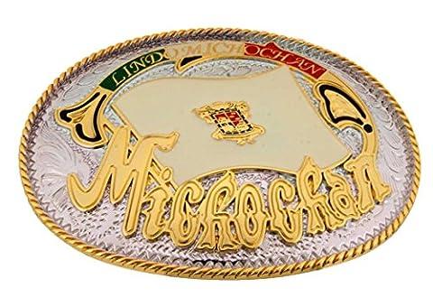 Michochan Mexico belt buckle North American Country Metal Cinturon de hebilla. (Hebillas De Rodeo)