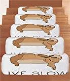 iPrint Non-Slip Carpets Stair Treads,Sloth,Relaxed Happy Animal Lying and Eating Cute Character Live Slow Motivational Phrase Decorative,Light Brown,(Set of 5) 8.6''x27.5''