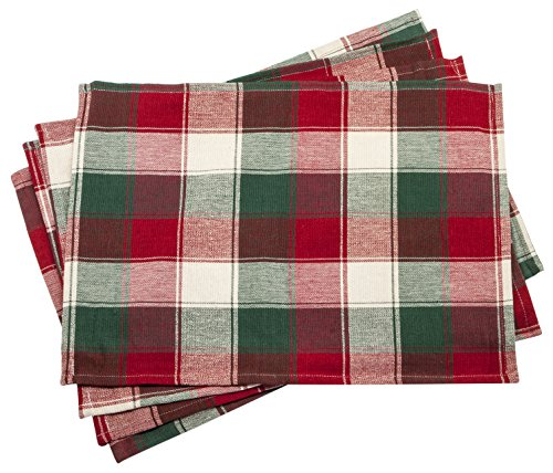 JH172-PD- Christmas Celtic Plaid Placemats - Set of 4 - 13 x19 Inches (Placemats For Christmas)
