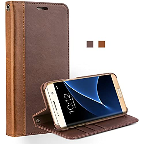 Galaxy S7 Edge Case, Wallet case with Stand Feature, QIALINO Genuine Leather Flip Cover for Samsung Galaxy S7 Edge, Dark Brown Sales