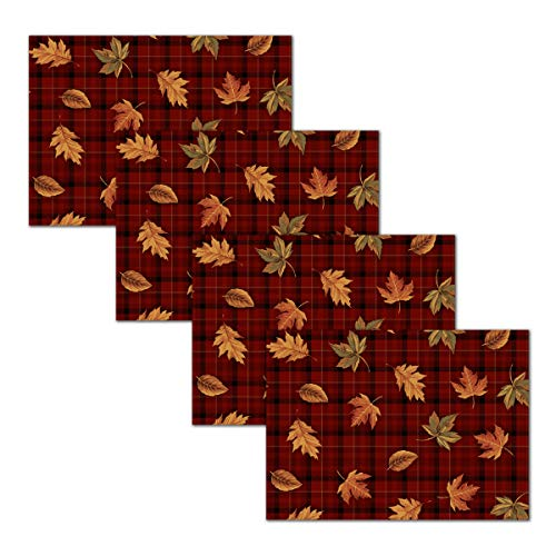 Blissful Living Set of 4 Placemats, Heat and Stain Resistant - Decorate Your Kitchen Table with Our Beautiful Rectangle pad placemat (Leaf Plaid)