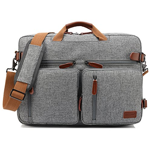 CoolBELL Convertible Backpack Messenger Bag Shoulder Bag Laptop Case Handbag Business Briefcase Multi-Functional Travel Rucksack Fits 15.6 Inch Laptop for Men/Women (Grey) ()