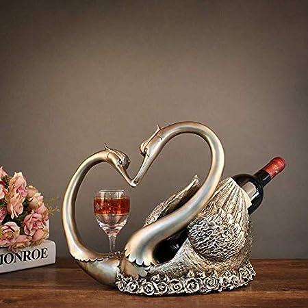Estantería de vino Regalo estante del vino, vino cisne estante del vino Ebanisteria Adornos for europeos caseros suaves Decoraciones regalos de boda de gama alta-sala de estar estante de vino pequeño