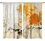 Abstract art draperies, set with two 50''x84'' panels in cream and orange, Rhymes with Orange