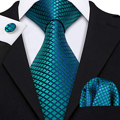 (Barry.Wang Teal Ties Pocket Square Cufflinks Plaid Tie Set)