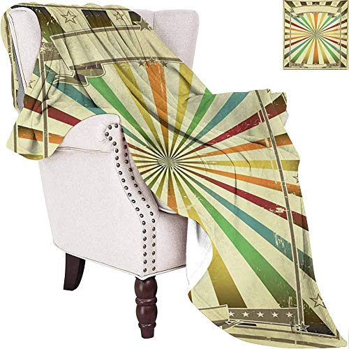 MKOK Vintage Rainbow Rugged or Durable Camping Blanket Colorful Burst of Lines with Poster Design with Stars Circus Illustration Warm and Washable W70 x L84 Inch Multicolor