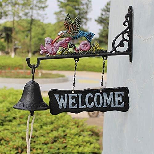 [해외]zyy ZWYY Kingfisher Vintage Welcome to The Double-Sided Listing Doorbell Welcomene Nordic Country Cast Iron Wrought Iron Hand Bell Doorbell / zyy ZWYY Kingfisher Vintage Welcome to The Double-Sided Listing Doorbell Welcomene Nordic...