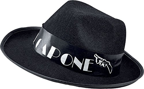 Mens Fancy Dress Party Accessory Gangster Style Al Capone Budget Black Felt Hat]()