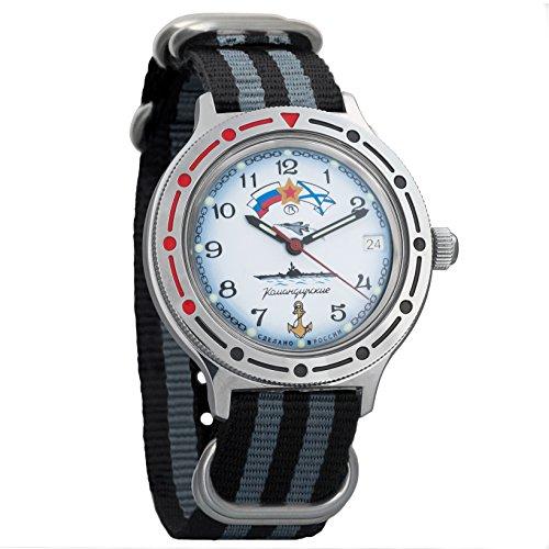 Vostok Komandirskie Russian Navy Mechanical AUTO Self-winding Mens Military Wrist Watch #921241 (black+grey) - Black Navy Wrist Watch