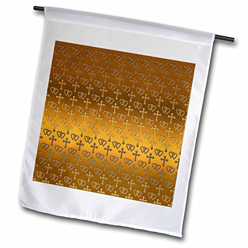 - 3dRose 777images Designs Patterns - Small gold entwined hearts and cross on a bright brass background. - 12 x 18 inch Garden Flag (fl_35988_1)