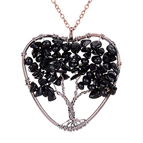 Pendant Necklace Natural Stone Quartz Semi-Precious Stone Necklaces Obsidian