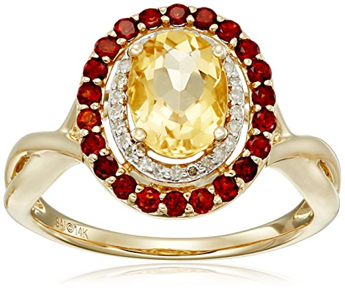 UPC 032964050166, 14k Yellow Gold Citrine, Garnet and Diamond (1/10cttw, H-I Color, I2-I3 Clarity) Ring, Size 7
