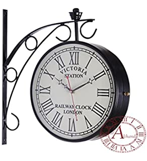 akhandstore 12 inch clock dia black antique wall clock metal station clock double sided railway clock