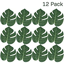 "Kidsco Tropical Leaves 6.24"" X 8"" - Pack of 12 – Monstera Hawaiian Leaves Imitation - Great for Party Decorations Events, Weddings, Luau, Hawaiian, Beach, Jungle Party, Arts and Crafts"