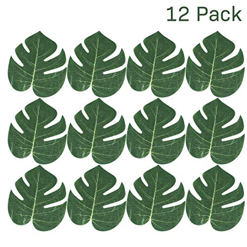 """Kidsco Tropical Leaves 6.24"""" X 8"""" - Pack of 12 – Monstera Hawaiian Leaves Imitation - Great for Party Decorations Events, Weddings, Luau, Hawaiian, Beach, Jungle Party, Arts and Crafts"""