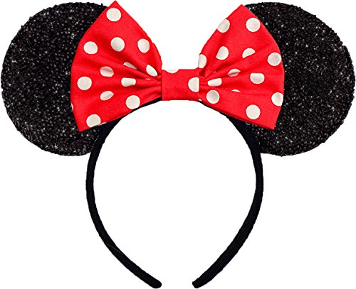 Minnie Mouse Ears Sparkly Shimmer Headband Red White Polkadots Hair Bow Women Mickey Birthday Party Theme by Sweet in the City]()