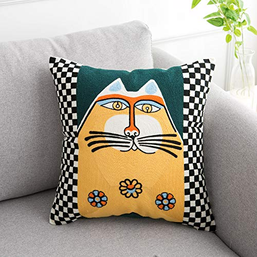 famibay Embroidery Pillow Cover Decorative Square Canvas Throw Pillow Case Abstract Cartoon Pattern Cushion Cover with Zipper for Home Sofa Couch Bed 18