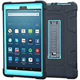 TabPow All-New Fire HD 8 Tablet, Shockproof, Drop Protection, Three-Layer Full-Body Hybrid Kids Adult Case With Kickstand For Fire HD 8 Tablet (7th Gen, 2017) & Fire HD 8 (6th Gen, 2016) - Blue