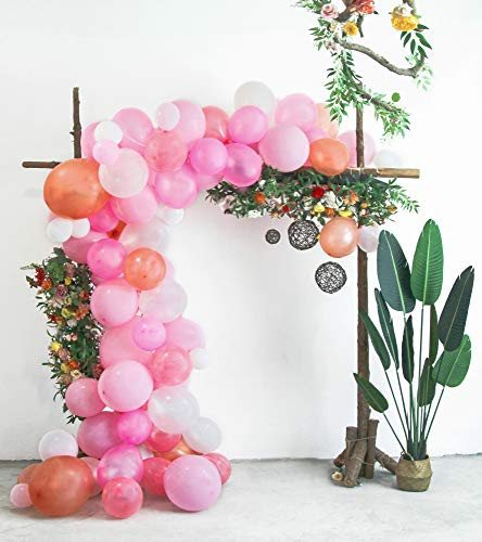 Funwoo Balloon Arch Garland Kit - 100 Pink, White, Blush and Rose Gold Latex Small to Large Balloons for Baby Shower, Wedding Party Decorations - 100 Glue Dots and 17 Feet Decorating Strip Included ()