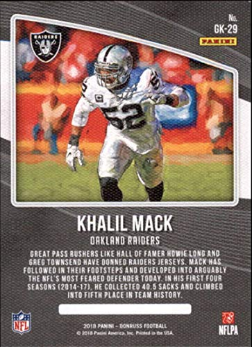 a8b8c78e7aa Amazon.com  2018 Donruss Gridiron Kings Football Card  29 Khalil Mack NM-MT  Oakland Raiders Official NFL Trading Card  Collectibles   Fine Art