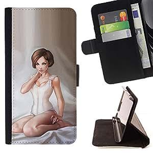 Momo Phone Case / Flip Funda de Cuero Case Cover - ?ngel de la ni?a blanca Arte Lencería Pintura Mujer - HTC One M9